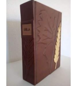 BÍBLIA FOLHAS DOURADAS + EMBUTIDO DE MADEIRA